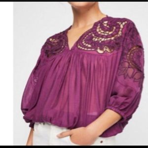 NWT Free People purple bell sleeve blouse size XS